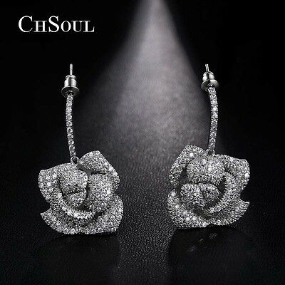 New Stunning Women Rose CZ Drop Dangle Earrings Gold Plated Lady Silver Jewelry