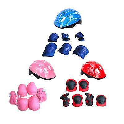 Kid 7PCS Skating Bike Protective Gear Safety Helmet Children Knee Elbow Pad Set