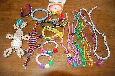 Lot of 7 bracelets(beads, cloth, plastic), 5 bead necklaces;2 bead critters