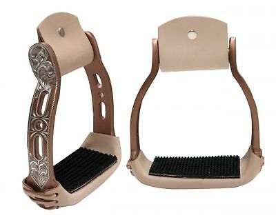 New Showman Polished Copper Aluminum Leather Wrapped Engraved Western Stirrups