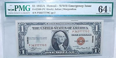 1935A $1 Hawaii Wwii Emergency Issue - Pmg Choice Uncirculated 64 - Epq