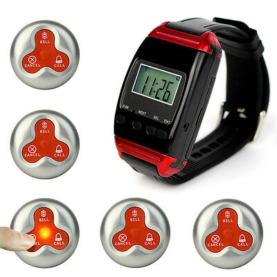 New Waterproof Wireless Restaurant Paging System Watch Receiver&5 Call Buttons