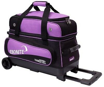 Ebonite Transport 2 Ball Roller Bowling Bag with Wheels Color is Purple