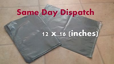 50 Strong Grey Mailing  Packaging Plastic Bags / Large Size 12 x 16