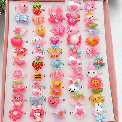 Wholesale 20Pcs Mixed PATTERN Cute Cartoon Children/Kids Resin Lucite Rings New