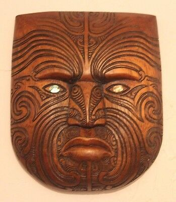 hand carved solid wood maori wall mask carving with paua shell eyes 24cm