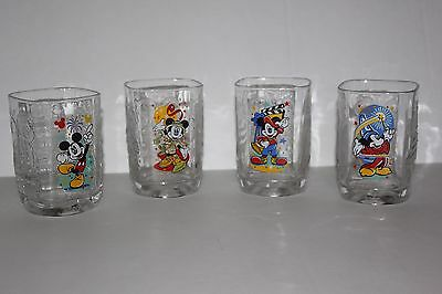 Set of 4 Walt Disney World Mickey Mouse Drinking Glasses McDonald's Collectible