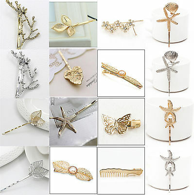 50 Styles Crystal Rhinestone Hairpins Hair Clips Gold Silver Wedding Jewelry
