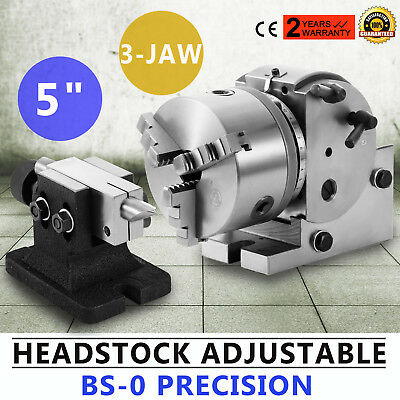 """BS-0 Dividing Head Set W/ 5"""" Chuck & Tailstock For Milling Machine for Industry"""