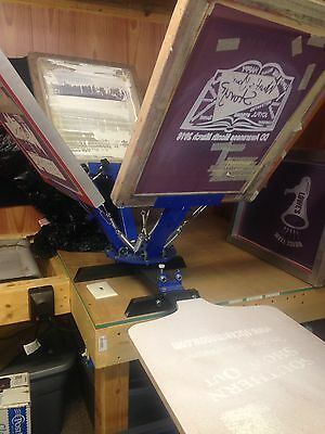 Used 4 Color 1 Station Silk Screen Commercial Printing Press Machine Blue