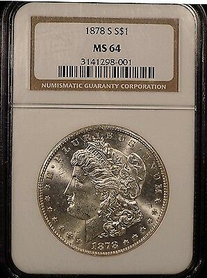 1878-S Morgan silver dollar MS 64 NGC certified. White coin.