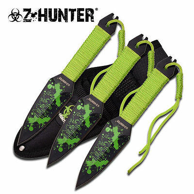 Zombie Hunter 6.5 Inch Throwing Knife 3 Piece Set with Sheath ZB-106-3