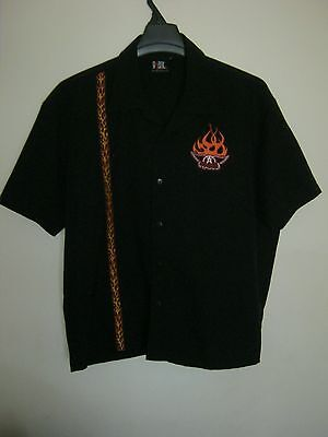 AEROSMITH SHIRT Mens Button Down Embroidered Size XL Poly SS BLACK w/ Fire Giant