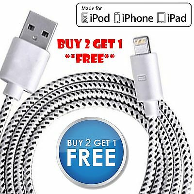 Strong Braided USB Data Sync Charger Charging Cable Lead iPhone 7 6s 6 5 5s iPad