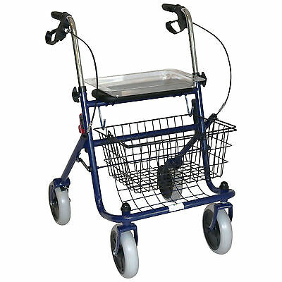 Rollator Walker Foldable Wheels Meal Tray Dual Brakes Indoor Outdoor Aid Steel