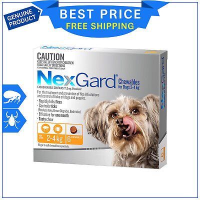 NEXGARD For Dogs ORANGE Pack 2 to 4 Kg 6 Chews Flea and Tick treatment NEXGUARD