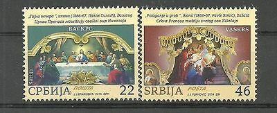 """SERBIA 507  2014 Easter,""""The Last Supper"""" and """"The Entombment"""" set MNH"""