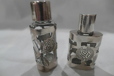 Pair (2) Mexico Sterling Silver Overlay Glass Perfume Scent Bottles Hallmarks