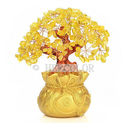 Money Wealth Bag Feng Shui Lucky Tree Size S Yellow Citrine Crystal New