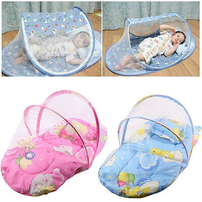 Foldable New Baby Cotton Padded Mattress Pillow Bed Mosquito Net Tent LE