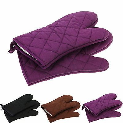 Cotton Heat Resistant Mitt Kitchen Baking BBQ Insulated Padded Thick Oven Gloves