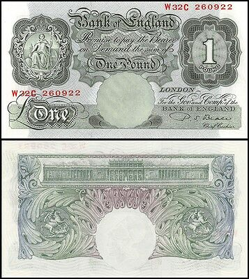 Great Britain England 1 Pound, 1949-55, P-369b, UNC