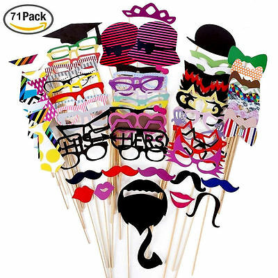 71PCS Photo Booth Props Hats on Stick Funny Creative Wedding Birthday Christmas