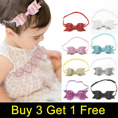 Sweet Baby Girls Kids Hairband Bow Elastic Band Headband Glitter Hair Accessorie