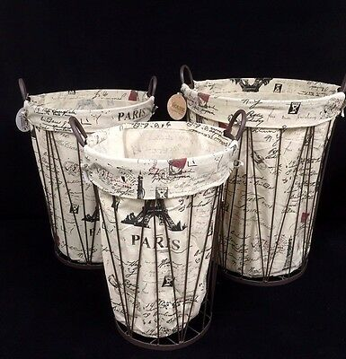 New 3pc set  Brown Iron Rustic Metal Basket With Printing Linen Lining & Handle