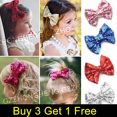 """4"""" Baby Girls SEQUINED BOW Alligator Hair Clip Glitter Cute Hairband Accessories"""