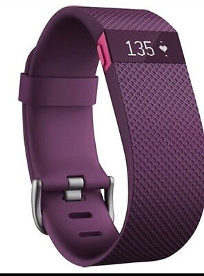 Genuine Fitbit charge HR Heart Rate+Activity Wristband Tracker Large Size Plum