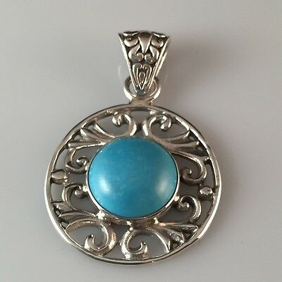 New Solid 925 Silver Pendant Howlite Turquoise Cabochon Round Ajoure