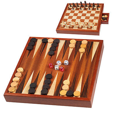 2 in 1 Hand Made LUXURY Wooden Chess set and Backgammon with Case by Vertini