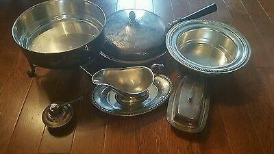 8 Piece Mixed silver Plated Serving Dish, butter, gravey more Sheffield fb roger
