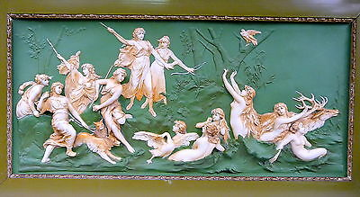 Large Plate Relief Ens um 1900 Hunting