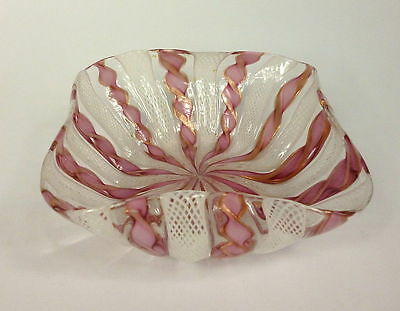 Bowl Ashtray Murano Italy Thread Glass