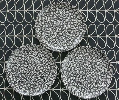 Poole Pottery Black Pebble Dinner Plates X3