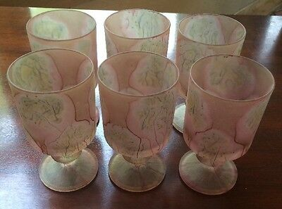 Vintage France Frosted Art Glass Painted Set of 6 Drinking Glasses