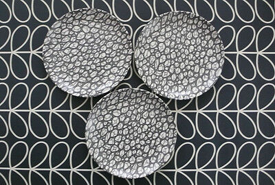 Poole Pottery Black Pebble Side plates x3