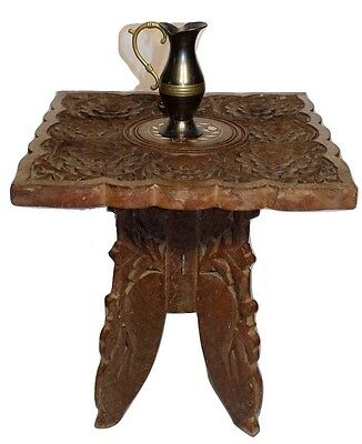 Vintage small  Hand Carved Wooden square table plant stand India