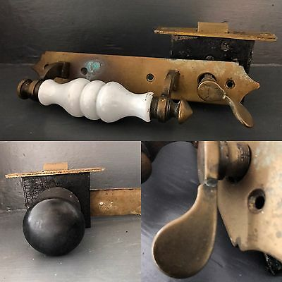Antique Porcelain Door Handle With Brass Latch And Wooden Handle. Reclaimed.