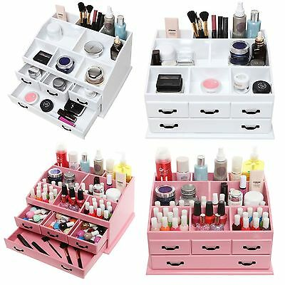 Wooden 4 Drawer Jewellery Large Cosmetic Makeup Storage Display Organiser Box