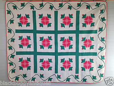 Antique QUILT 1920's Vintage APPLIQUED ROSE OF SHARON Hand Quilted at 8 sti