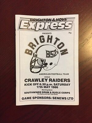 Brighton B52s v Crawley Raiders 1986 American Football Programmes 24 pages