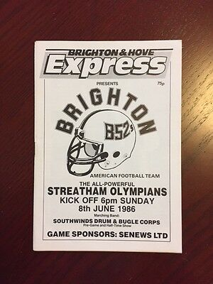 Brighton B52s v Streatham Olympians 1986 American Football Programmes 20 pages