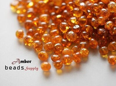 6-8 mm Cognac Polished Baroque Baltic amber drilled beads for jewelry making