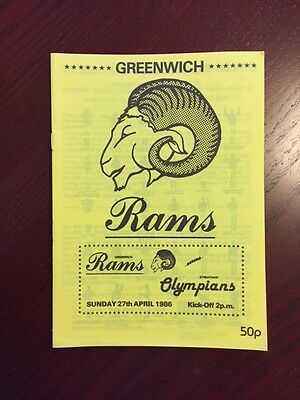 Greenwich Rams v Streatham Olypians 1986 American Football Programmes 12 pages