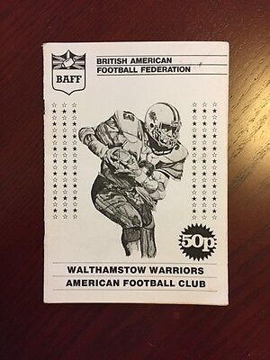 Walthamstow Warriors v Brighton B52s 1985 American Football Programmes 12 pages