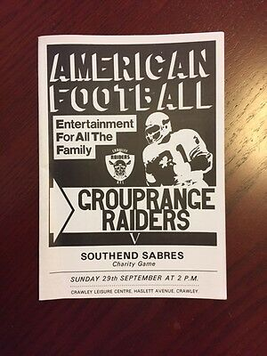 Crawley Raiders v Southend Sabres 1985 American Football Programmes 8 pages