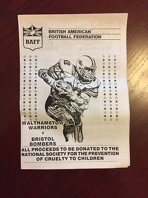 Walthamstow Warriors v Bristol Bombers 1985 American Football Programmes 4 pages
